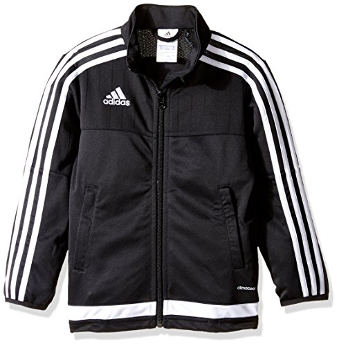 adidas Youth Soccer Tiro 15 Training Jacket, Black/White/Black, Large