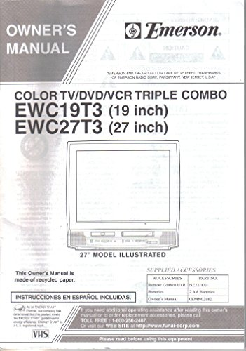 Color Tv Owners Manual (Owner's Manual for Emerson EWC19T3 EWC27T3, 19 and 27 inch Color TV/DVD/VCR Triple Combo)