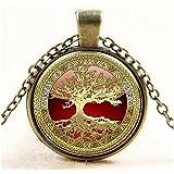 Vintage Tree of life Photo Cabochon Glass Bronze Silver Chain Pendant Necklace#by pimchanok shop (Bronze)