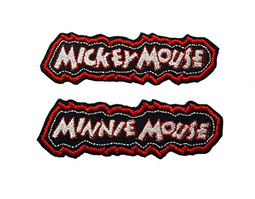 Vintage Style Iron on Patch Set Mickey Mouse Minnie Mouse Hollywood Banners Names in Lights