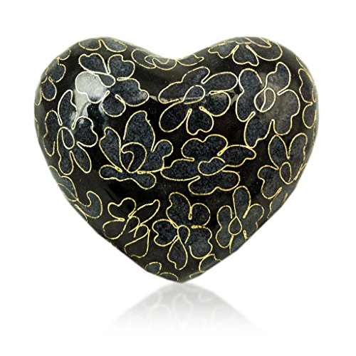 Essence Bronze Heart Memorial Keepsake Urns - Extra Small - Holds Up to 3 Cubic Inches of Ashes - Slate Black Cremation Urn for Ashes