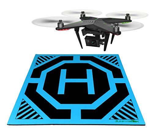 SunfyreTek Ultra Sleek and Stylish RC Remote Control Helicopter Drone Landing Pad Helipad 12-inch by 12-inch - Made for Mini Drones and RC Helicopters(Blue) ()