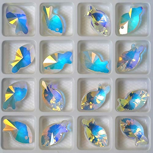 Pukido 16x9mm Crystal Beads Crystal AB Glass Beads Fish Pendant gems for Jewelry Making Necklaces Earrings DIY 28pcs/Pack