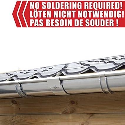 Pultdach | in Titanzink//Verzinkt//Anthrazit Verl/ängerungsset 170 cm Ideal f/ür Veranda , Verzinkt Zink Dachrinnen//Regenrinnen Set 1 Dachseite Type 110 /Überdachung oder Vordach.