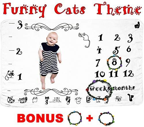 Circle Baby Photo Announcement - Baby Milestone Blanket by Verinca Fleece Soft & Large 60x40