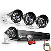 #LightningDeal 76% claimed: ?Updated? XVIM 8CH 4-in-1 720P DVR Security Camera System CCTV Wired Recorder with 1TB Hard Drive,4pcs Outdoor Surveillance Cameras with Night Vision, Easy Remote Access on Phone