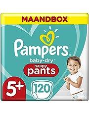 Pampers Baby-Dry Pants Maat 5+ (12-17kg), 120 Luierbroekjes, Makkelijk Aan Met Luchtdoorlatende Banen Tot 12 Uur Lang Droog, Maandbox