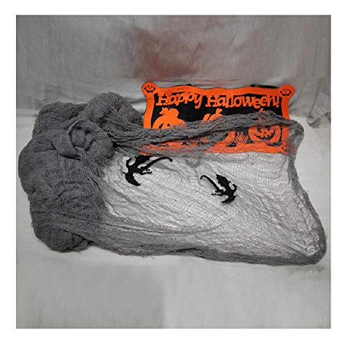 Halloween Decoration Sparse Network Gauze Tulle Background Wall Terror Party Grey 3meters]()