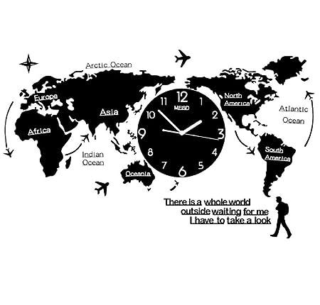 Yaouawc Grand Monde Carte Horloge Murale Design Moderne