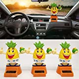 Grebest Car Ornament Interior Decoration Repair Tool Solar Power Cartoon Swinging Pineapple Car Interior Ornament Home Decor Toy Gift - Yellow