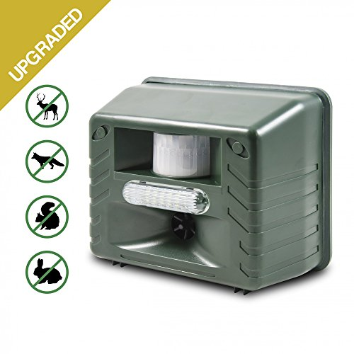 Ultrasonic Animal Repeller, Aspectek Outdoor Animal Repellent Motion Activated with Strobe LED Light for Rodents, Deer, Cats, Dogs, Foxes, Mice, Birds, Skunks, Etc. (Audible Strobe Light)