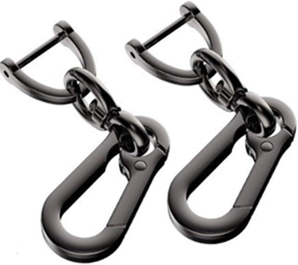 WindCar Car Keychain Metal Keychain for Car Smart Retro Key Ring Detachable Key Clip with Horseshoe Shape D-Ring (Black - 2pcs)