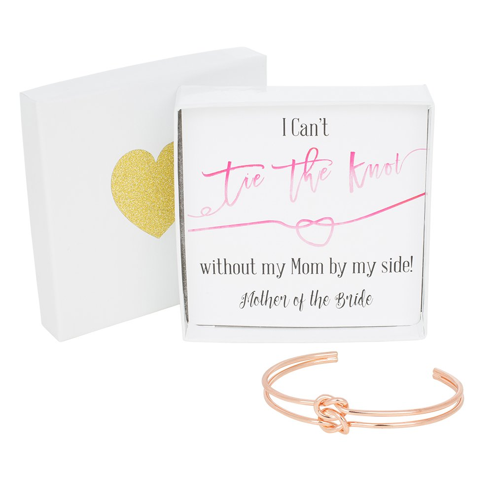 Bridesmaid Gifts - Tie The Knot Mother of the Bride Cuff Bracelet with Gift Box, Double Love Knot Cuff Bracelet, Wedding Party Gift Sets (Pink Note Rose Gold Bracelet)