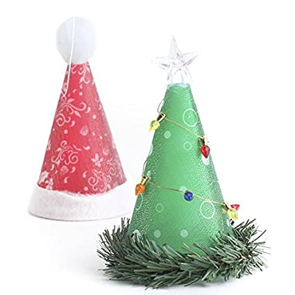 battery operated light up santa hat or christmas tree display ornaments for embellishing tables mantles