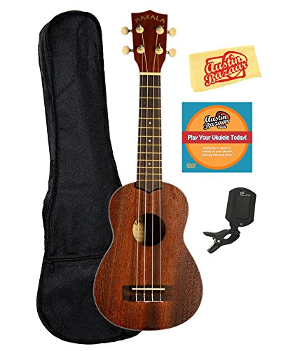 Kala MK-S Makala Soprano Ukulele Bundle with Gig Bag, Tuner, Austin Bazaar Instructional DVD, and Polishing Cloth