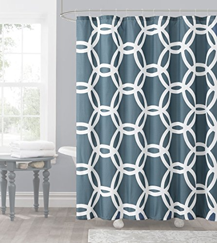 Slate Blue and White Embossed Fabric Shower Curtain: Chain Lattice -