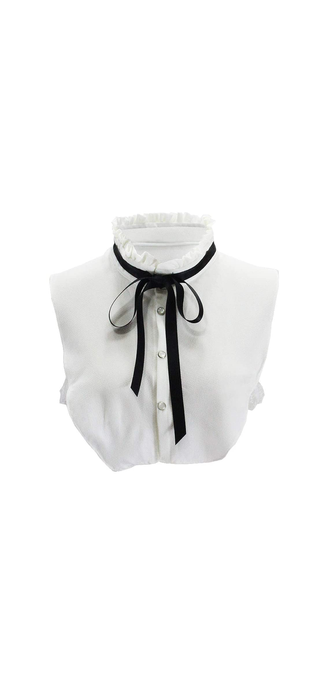 Student's Sweet Pleated Ruffled Lace Half Shirt False Tie