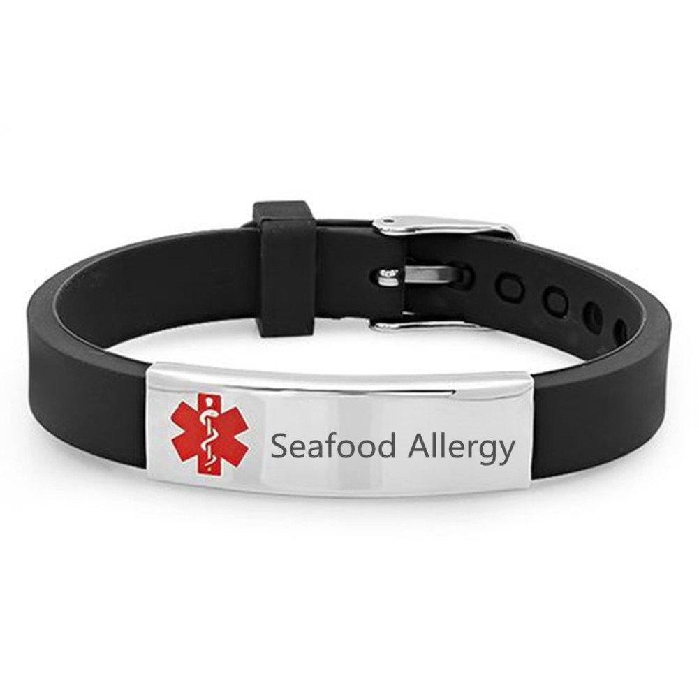 Sunling Custom Adjustable Silicon Medical Alert Seafood Allergy Awareness Bracelet for Women Men Kids, Free Engraving, Emergency Daily Life Saver for Son, Daughter, Parents