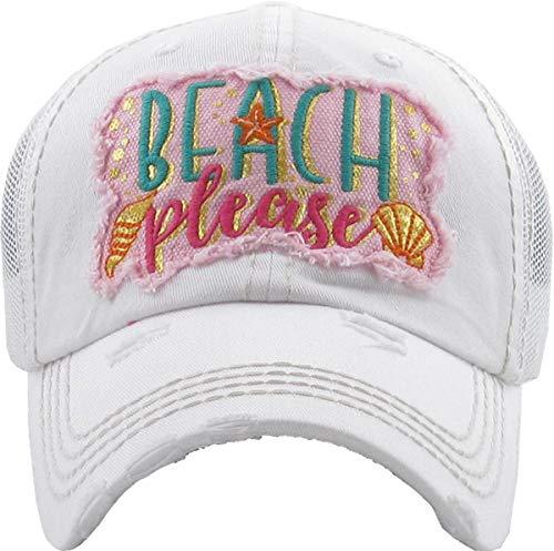 (H-212-BPM09 Distressed Baseball Cap - Beach Please Metallic (White))