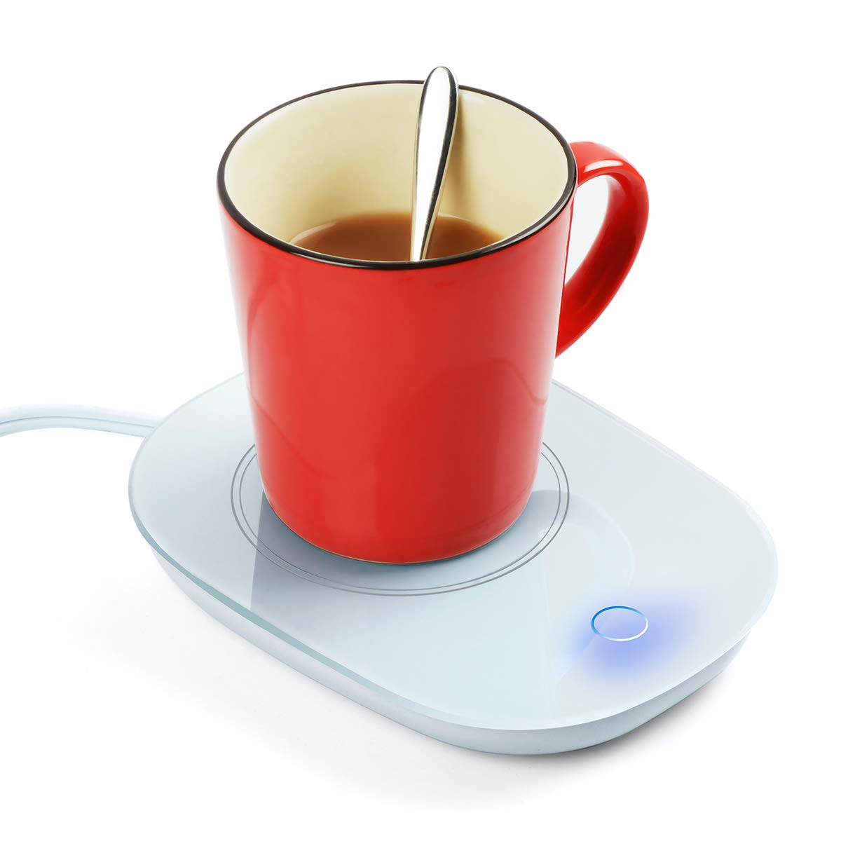 Yuntec Coffee Mug Warmer, Cup Heater for Desk Coffee Warmer Beverage Warmer Automatic Thermostatic Smart Cup Heater for Coffee, Milk, Tea, Cocoa, Water, Home and Office Use - White