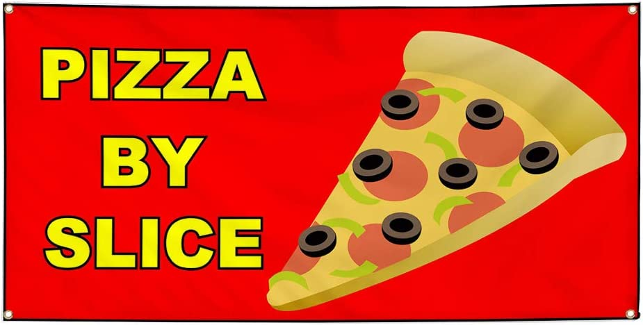 Vinyl Banner Sign Pizza by Slice Red Yellow Brown Pizza Marketing Advertising Red Multiple Sizes Available 44inx110in 8 Grommets One Banner