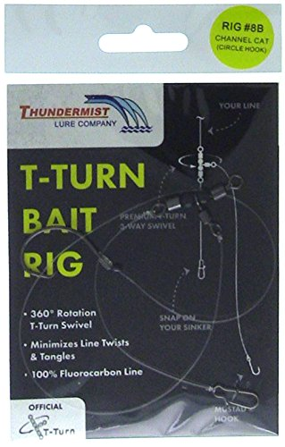 Thundermist Lure Company 8B Channel Catfish Rig with Circle Hook T-Turn Bait Rig, Clear