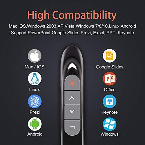KRONIUM Wireless Presenter with Laser Pointer, Presentation Remote Presentation Clicker, Laser Pointer 2.4GHz USB Powerpoint PPT Clicker Flip Pen for Office Teacher,Support Hyperlink (Black) Photo #9