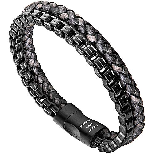 murtoo Mens Bracelet leather and Steel, Stainless Steel Chain and Leather Bracelets for Men Perfect Gift (Black) from murtoo
