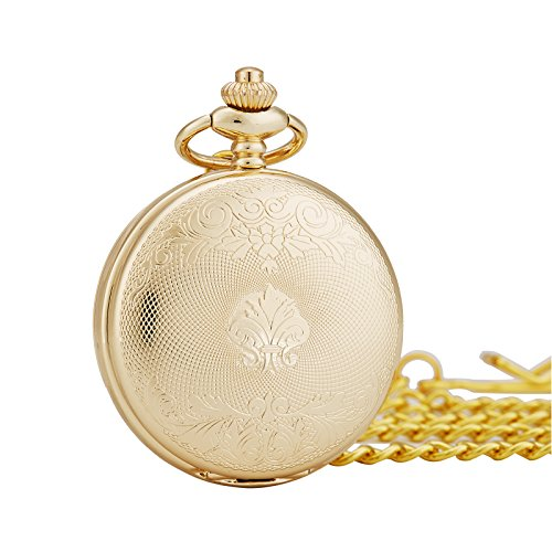 TREEWETO Antique Mens Pocket Watch Skeleton Mechanical Half Hunter Golden Case Roman Numerals by TREEWETO (Image #4)