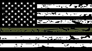 Amazon.com: Thin Green Line Tattered US Flag Decal. 3M Outdoor Series  Highly Reflective Vinyl. Black, White & OD Green American Flag Sticker.:  Automotive
