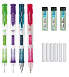 Paper Mate Clear Point Mechanical Pencil Starter Set, 0.7mm, Fashion Assorted Colors Will Vary, Pack of 6 Pencils, 3 Lead Refills, and 6 Eraser Refills
