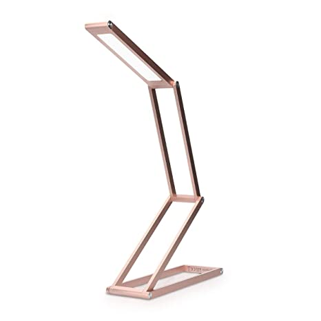 kwmobile Lámparas de mesita de noche de aluminio - Lámpara de pie con batería y cable MicroUSB - Iluminación LED - Flexo de escritorio rosa oro