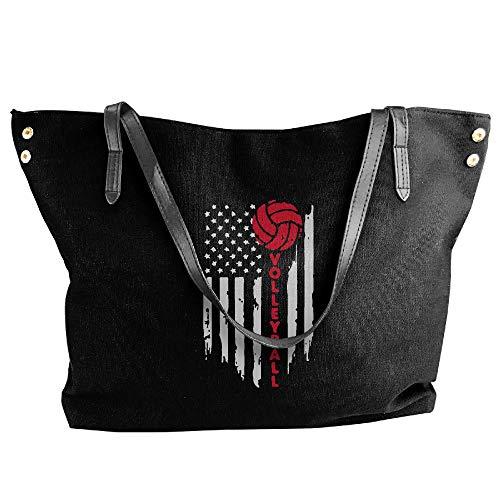 Shoulder Volleyball Canvas American Bag Handbag Black Tote Flag Hobo Handbag Women's Tote Large tqXHwBB