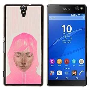 LECELL--Funda protectora / Cubierta / Piel For Sony Xperia C5 Ultra -- Mujer musulmán bufanda rosada Arte Pintura Retrato --