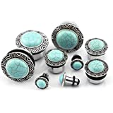 """Pair 9/16"""" Gauge (14mm) Silver Frame Turquoise Stone Dome Steel Plugs"""