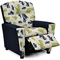 Kidz World Toy Truck Felix Kids Recliner with Cup Holder, Navy Suede