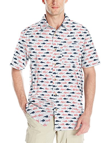 Columbia Mens Super Slack Tide Camp Shirt, White Americana Fish Print, Medium