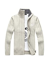 OCHENTA Men's Casual Zip-up Knitted Cardigan Sweater
