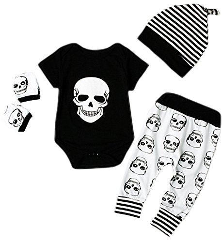 Newborn Baby Boy Girl Halloween Skull Bodysuit Tops+Long Pants+Hat Outfit size 6-12 Months (Black) ()
