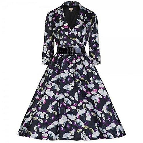 Vestido 3/4, estilo clásico Audrey Hepburn de los años 40, fiesta Flor Negro