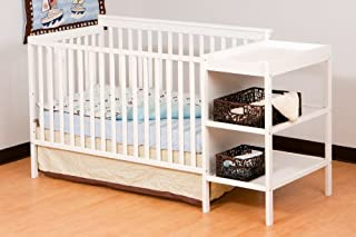Stork Craft Milan 2-in-1 Fixed Side Convertible Crib and Changer, White