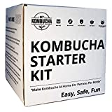 Kombucha Brewing Starter Kit: 6.5'' Organic SCOBY, Largest USDA Culture In North America, Organic Loose Leaf Tea Brew 80 Bottles, Organic Sugar, Instructions, Videos, Recipes, Supplies and More!