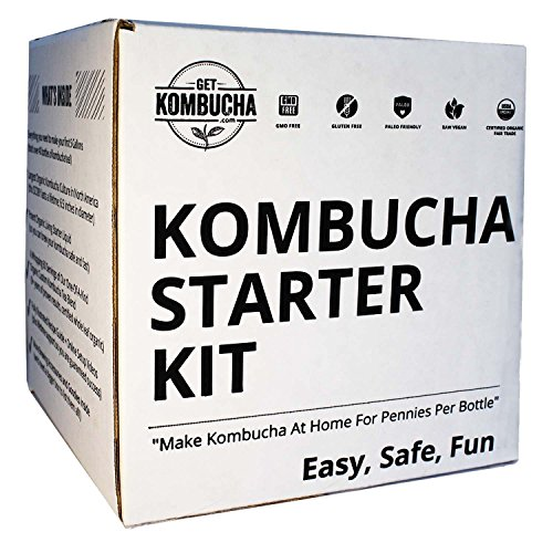 "Kombucha Brewing Starter Kit: 6.5"" Organic SCOBY, Largest USDA Culture In North America, Organic Loose Leaf Tea Brew 80 Bottles, Organic Sugar, Instructions, Videos, Recipes, Supplies and More!"