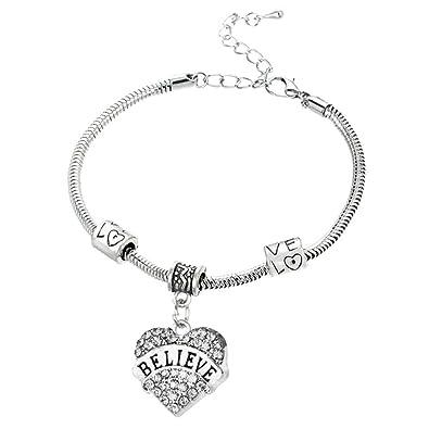 DODIY Best Friend Crystal Bracelet Silver Steel Chain Love Hearts Metal Pendant Bracelets Sparkle Rhinestone for Gift Jewelry
