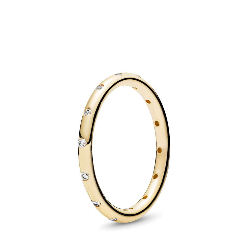 PANDORA Droplets Ring, Polished Gold 14K, Cubic Zirconia, Size 6 by PANDORA