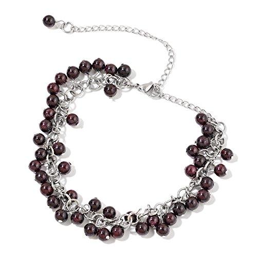 (Drop Charm Anklet Ankle Bracelet for Women Garnet Jewelry Gift Hypoallergenic 11