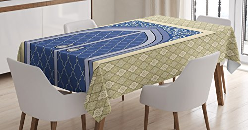 Ambesonne Moroccan Tablecloth, Medieval Door with Ottoman Architecture Persian Influences Culture Design, Dining Room Kitchen Rectangular Table Cover, 52