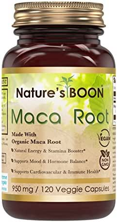 Nature's Boon Premium Quality Organic Maca 950 mg, 120 Veggie Capsules (Glass Bottle) -Supports Energy Production -Promotes Reproductive Health -Supports Overall Health and Vitality
