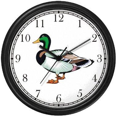 Mallard Duck Drake Bird Animal Wall Clock by WatchBuddy Timepieces (Hunter Green Frame)