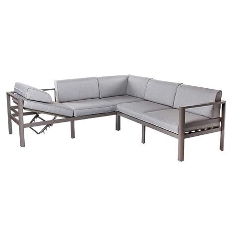 Conjunto de sofá de Exterior de Aluminio Gris para jardín ...